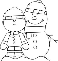 Black and White Boy with Snowman Clip Art - Black and White Boy with Snowman Image