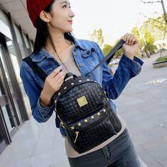 2016 Fashion Backpacks Women PU Leather School Bag Girls Female Black Colors Travel Shoulder Bags Waterproof Back Bags Mochila