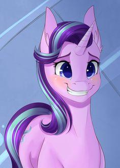 #1118650 - artist:chiweee, blushing, cute, glimmerbetes, grin, safe, scene interpretation, solo, spoiler:s06e01, starlight glimmer, teeth, the crystalling - Derpibooru - My Little Pony: Friendship is Magic Imageboard