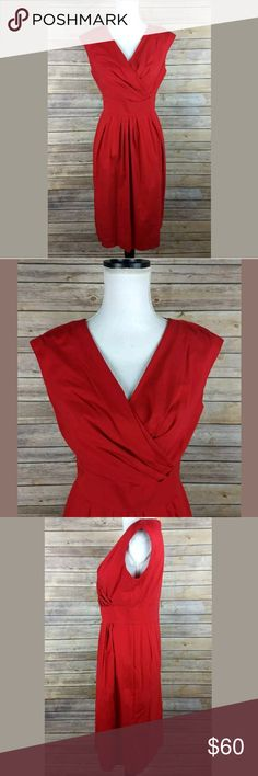 Lafayette 148 Red V-Neck Wrap Sheath Dress Measurements/condition are in the pics. Let me know if you have any questions! Lafayette 148 New York Dresses
