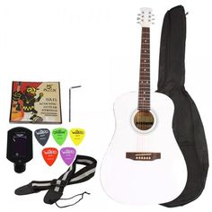 """41"""" Folk Acoustic Wooden Guitar Beginner White with Extra Accessories"""