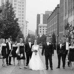 The stopping traffic (pun intended!) to get the perfect shot. Love the casual feel to this picture. Bridal Parties, Puns, Street View, City, Gallery, Casual, Pictures, Clean Puns, Photos
