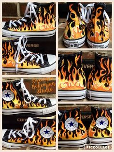 Custom Hand Painted Flames on Black Converse High Tops, Fire Chucks, Yellow-Red Fiery Flame Shoes fo - Kids Converse Shoes, Custom Converse, Custom Sneakers, Men's Sneakers, Painted Converse, Painted Shoes, All Star, Black Hi Top Converse, Converse High