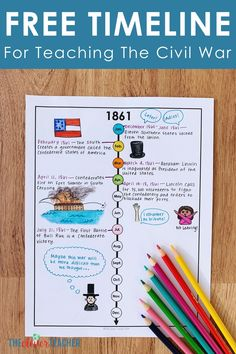 How to Teach Civil War Using Timelines! - This FREE Civil War timeline makes a fun addition to any Civil War history projects, activities, or - Civil War Activities, History Activities, Educational Activities, Educational Leadership, Educational Technology, Education Major, History Education, Teaching History, Education Quotes
