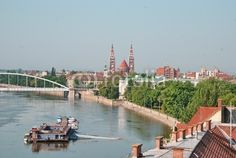 Szeged, view over the Tisza river , the bridge and the cathedral of the city