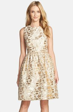 Chetta B Metallic Leaf Jacquard Fit & Flare Dress available at #Nordstrom