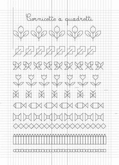 Border (open or fill-in) Blackwork Patterns, Blackwork Embroidery, Cross Stitch Embroidery, Cross Stitching, Graph Paper Art, Cross Stitch Borders, Cross Stitch Patterns, Boarder Designs, Drawing Tips