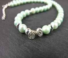 Mint Green Pearls and Sterling Silver Necklace, Classic Pearls in Spring Colours