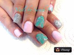 Teal, pink and silver Really Cute Nails, Love Nails, Fun Nails, Colored Acrylic Nails, Glitter Nail Art, Nails For Kids, Girls Nails, Summer Toe Nails, Super Nails