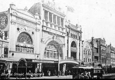 Bourke St,Melbourne in Victoria (year unknown).*Melba Theatre.