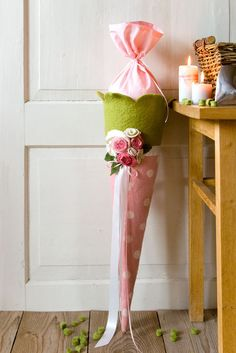 Schultüte aus Filz -Rose-