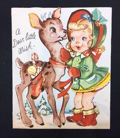Vintage Christmas Card Reindeer Fawn Cute Little Blonde Girl Curls Hat Dress