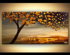 Original Tree Painting 48 Abstract Contemporary by OsnatFineArt
