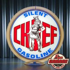"Silent Chief Gasoline - 13.5"" Gas Globe Lenses -  Made by Pogo's Garage"