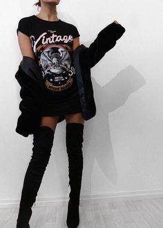 Compre Vestido Preto Modelo Camiseta Alongada - frete gratis | UFashionShop