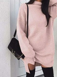 Bigsweety Women Autumn Knit Sweater Dress 2018 Fashion Turtleneck Side Split Elastic Solid Color Knitted Dress Vestidos 2018 New Knit Sweater Dress, Sweatshirt Dress, Sweater Dresses, Oversized Jumper, Casual Sweaters, Long Sweaters, New Style Tops, Pulls