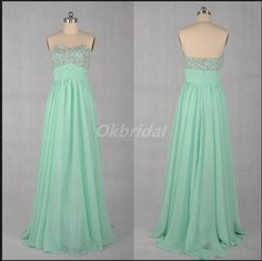 Sweetheart Beads Mint Green Long Prom Dresses 2015 Hot Long Mint A-Line Chiffon Dress for Prom Party