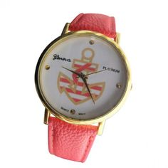 Coral Leather Watch with Gold Striped Anchor
