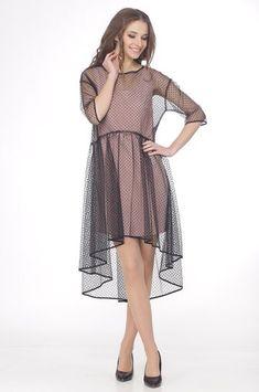 Платье Ladis Line, чёрный+розовый (модель 897) — Белорусский трикотаж в интернет-магазине «Швейная традиция»