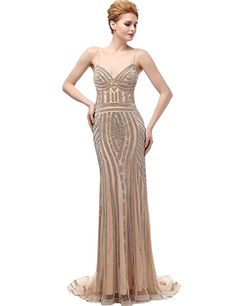 Belle House Women's Spaghetti Long Prom Dress Mermaid Evening Pageant Gown