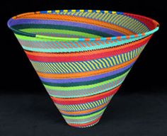 """Imbenge Telephone Wire Basket (Large deep cone) (#zwb472) South Africa Recycled telephone wire (11 3/4""""w x 8 3/4"""" h)"""