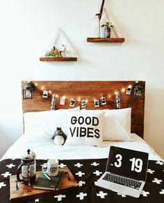 Love the shelves and headboard w/ lanterns