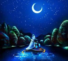 Disney's Jasmine and Alladin illustration via www.Facebook.com/GleamOfDreams