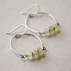 Prehnite Row Earrings- prehnite, sterling silver, goldfill. #earrings #handmade #amyolsonjewelry