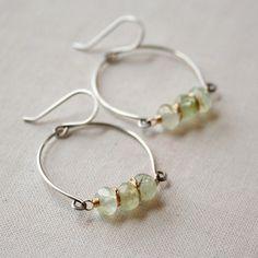Prehnite Row Earrings- prehnite, sterling silver, goldfill. #earrings #handmade #amyolsonjewelry