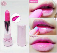 Gradient Lips, Ombre Lips, Kawaii Makeup, Cute Makeup, Etude House, Eye Makeup Art, Makeup Tips, Makeup Tutorials, Makeup Inspo
