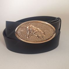 Bronze Border Collie Oval Buckle & Belt