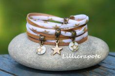bracelet cordon liberty et cuir 2 tours étoile doré blanc bronze : Bracelet par lillicrapote