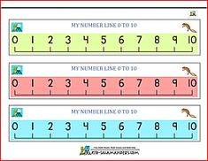 3 number lines from 0 to 10 in different colors