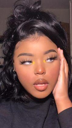 Makeup For Black Skin, Yellow Makeup, Makeup Eye Looks, Black Girl Makeup, Creative Makeup Looks, Cute Makeup, Girls Makeup, Pretty Makeup, Glamour Makeup