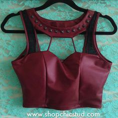 Studded Crop Top Tank - Burgundy Faux Leather - Black Silver or Gold Studs and other apparel, accessories and trends. Browse and shop 8 related looks. Indian Blouse Designs, Blouse Back Neck Designs, Saree Jacket Designs, Fancy Blouse Designs, Crop Top Designs, Sari Design, Leather Jacket Dress, Leather Dresses, Leather Jackets
