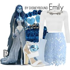 Emily by leslieakay on Polyvore featuring polyvore, moda, style, WearAll, Chicwish, Topshop, Carvela, Martick, Halloween, timburton and corpsebride
