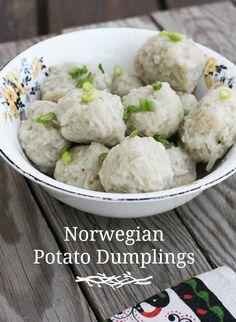 Norwegian Potato Dumplings Klub Recipe - I Cook Different Norwegian Cuisine, Norwegian Food, European Cuisine, Norway Food, Viking Food, Nordic Recipe, Swedish Recipes, Norwegian Recipes, Heritage Recipe