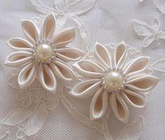 2 Handmade Ribbon Flower Ribbon Roses Satin Flower by Mydesign63