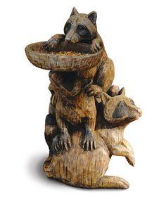 Raccoon Totem Bird Feeder Statue