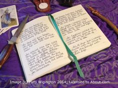 In Wicca and Paganism, it's traditional to create a Book of Shadows, which is a notebook containing information regarding your tradition, gods and goddesses, correspondence tables, sabbat and esbat rites and rituals, magical recipes, and more. Learn how to make your own BOS here.