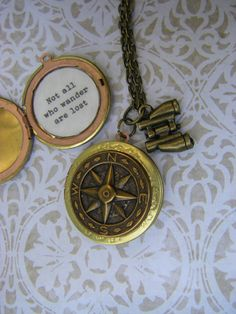 Not all who wander are lost Necklace Compass Locket
