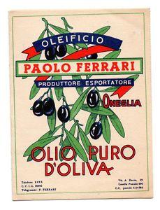 OLIO OLIVA PAOLO FERRARI ONEGLIA LISTINO CON CARTOLINA PER ORDINE 1960 | eBay