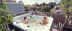 What better way to utilise the open and sunny decking area than to include a spa. Apartment Balcony Decorating, Apartment Balconies, Rooftop Terrace, Terrace Garden, Jacuzzi, Spas, Outside Pool, Decking Area, Spa Design