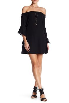 Image of Want & Need Off-the-Shoulder Flutter Sleeve Mini Dress