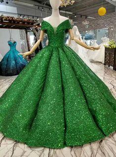 Green Ball Gown Sequins Off The Shoulder Floor Length Wedding Dress Mend My Dress Quince Dresses, Ball Dresses, Ball Gowns, Prom Dresses, Elegant Dresses, Pretty Dresses, Beautiful Dresses, Robes Quinceanera, Green Wedding Dresses