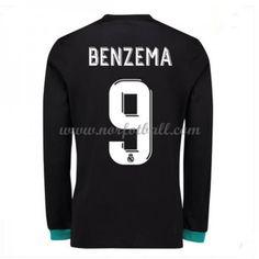 Billige Fotballdrakter Real Madrid 2017-18 Karim Benzema 9 Bortedrakt Langermet