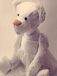 Wedding dress keepsake bears.