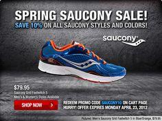 Save 10% all Saucony through Monday :-)
