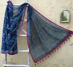 Desi B Kota Doria Saree Perfect Summer wear Tassel detailing makes it even prettier https://www.facebook.com/desibstore/