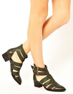 ASOS ANTICIPATE Leather Cut Out Ankle Boots